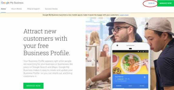 Sign Up for Google My Business
