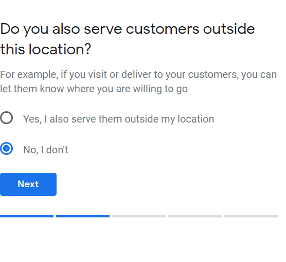 Do you also serve customers outside this location? For example, if you visit or delivery to your customers, you can let them know where you are willing to go.