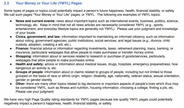 Section 2.3 of Google's Search Quality Evaluator Guidelines on YMYL